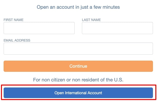 Open International Accountをクリック